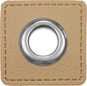 Ösen / Patches, VENO, Lederimitat, Quadrat, Größe 32mm, Öse 10mm, Beige
