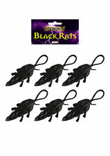 6 Black Plastic Rats - Halloween Toy Loot/Party Bag Fillers Decoration Scare