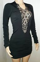 VICKY MARTIN black lace bodycon mini dress 8 10 BNWT cut out front long sleeved