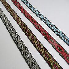Aztec Tribal Contrast Jacquard Ribbon 15mm - Red Green Grey Brown Blue Black