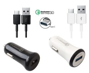 Adaptive Fast Rapid Qualcomm QC 3.0 Car Charger w/Type-C Cable for Cellphones