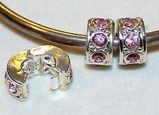 2x PINK RHINESTONE CRYSTAL STOP LOCK CLIP SILVR BEADS LOT M34 FIT EURO DIY CHARM