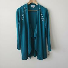 JM collection embellished teal open front cardigan size S