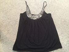 FOREVER 21 Rayon Black Embellished Casual Shirt Tank Top Blouse womens Medium MD