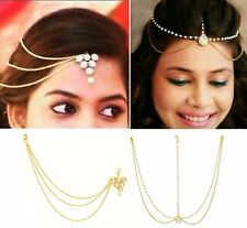 COMBO Of 2 golden chain maang tikka with pearl,diamond Triangle Design BRIDAL