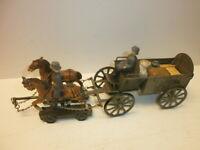altes Hausser Elastolin Blech Feldwagen-Gespann mit 2 Massesoldaten Länge 24cm