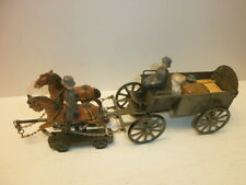 Old Hausser Elastolin Tin Feldwagen-Gespann With 2 Ground Soldiers Long 9 3/8in