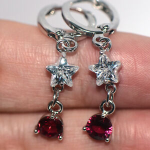 Red ruby star dangle earrings drop earrings 925 silver for womens girls jewelry