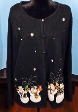 Womens Plus Cardigan Sweater 20/22W  Black SNOWFLAKES SNOWMEN Leopard Mittens