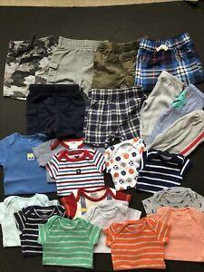 Infant Boys Clothes Shirts Shorts Pants Lot Of 22 Carters Gerber 3-9 Mo.