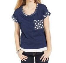 """Style & Co Womans Top Sz 3X Ink Blue American Star """"AMR Destination"""" Casual Top"""