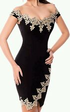 New sexy black & gold lace bodycon mini dress club party wear size UK 14-16-18