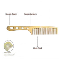Stainless Steel Metal Comb Barber Hair Cutting Gold