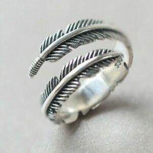 Silver Leaf/Feather Ring Adjustable Finger Thumb Band UK