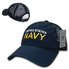 Blue United States US Navy Military Low Crown Polo Baseball Mesh Trucker Cap Hat