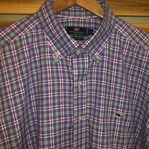 EUC Mens Vineyard Vines Purple Plaid Checks L/S Button Dress Shirt XL