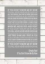 IF YOU DON'T KNOW ME BY NOW - SIMPLY RED Typography Lyrics Art Print Poster A4