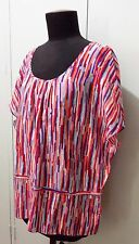 AS NEW Size 14 David Lawrence Red & Purple Cotton/Silk Women's Blouse- 59cm Bust