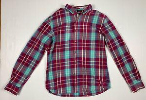Rusty Mens Long Sleeve Flannel Plaid Shirt Sz L Purple Blue Vintage Style