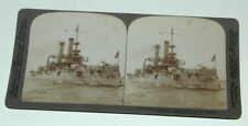 STEREO CARD BY UNDERWOOD AND UNDERWOOD--THE BATTLESHIP IOWA--1898