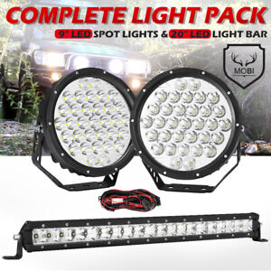 MOBI 9inch 59898LM Osram SPOT LED Driving Lights Spotlights Pack 1LUX @ 2000m