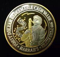 $40 .999 SILVER GOLD PLATED HARRAHS LAS VEGAS CASINO TOKEN Lot#AC22