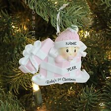 Baby Girl In Present Baby's First Christmas Personalized Tree Ornament