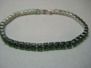 Silver Tennis Bracelets with 6.55ctw Green Sapphires or Blue Topaz Gemstone