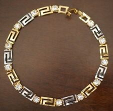 NEW WOMEN'S GREEK KEY LINK BRACELET TWO TONE GOLD PLATED RHINESTONES 7.50 inches
