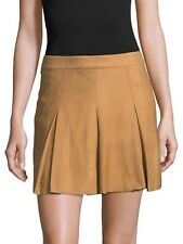 Alice + Olivia Lee Suede Box Pleat Mini Skirt Natural Size 8 NWOT $898