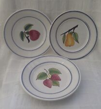 "Hand Painted CASAFINA Portugal 8 1/4"" FRUIT Motif Plates ~ Strawberry Pear Apple"