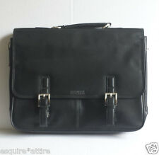 Kenneth Cole Leather Black Flapover Briefcase Portfolio with shoulder strap