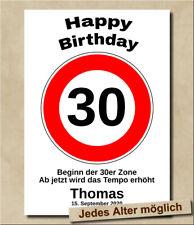Verkehrszeichen 30. Geburtstag Geschenkidee Verkehrsschild Jedes Wunschalter