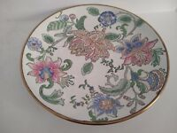 """Etched Floral Porcelain Plate with Gold Trim Oriental Asian Style Decor 10 1/4"""""""