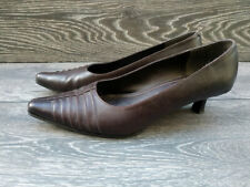 Womens CLARKS Burgandy Soft Leather Pointed toe Court Heeled Shoes Size 5.5 38.5