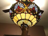 """Vintage Tiffany Style Stained Glass Floor Lamp """"Azure Heart/ 20"""" Shade"""
