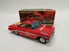 VTG Nomura Japan Oldsmobile Fire Chief Tin Friction Car w/ Siren & Original Box
