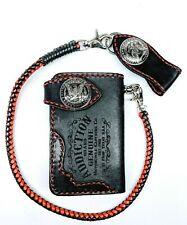 Biker Chain short Wallet motorcycle trucker thick leather engraved Red stitch