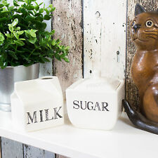 Modern Cream Sugar Bowl & Milk Carton Bottle Creamer Jug Afternoon Tea Gift Set