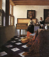 Art Oil painting Johannes Vermeer - A Lady at the Virginals with a Gentleman 36""