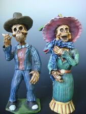 "LARGE Mexican Oaxacan Day of Dead Catrina couple DEMETRIO AGUILAR 12"" tall"