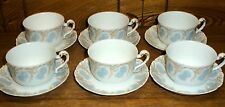 6 Small Espresso Porcelain Cup & Saucer Sets - T&V Limoges France