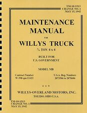 TM10-1513 ~ Maintenance Manual for Willys Jeep ~ ¼ Ton 4X4 Truck ~ MB ~ Reprnt
