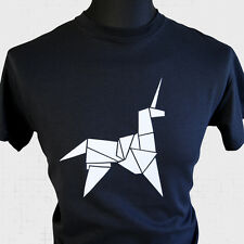 Hoja Corredor Origami Unicornio Camiseta Superhéroe SCI FI AÑOS 80 Retro Cómic