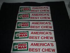"""Red Man """"America's Best Chew"""" Bumper Stickers 1980's Lot of 5 Original 11 X 3in"""
