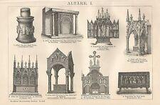 B0100 Tipi di Altari - Xilografia d'epoca - 1901 Vintage engraving