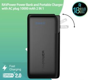 RavPower Power Bank 10000mAh 2 in 1 Power Bank and Wall Charger RP-PB066