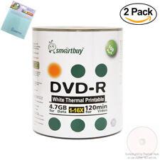 200 Smartbuy DVD-R 16X 4.7GB White Thermal Printable Disc+FREE Micro Fiber Cloth
