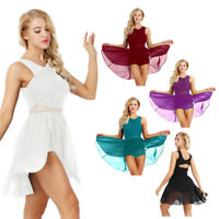 Women Adult Chiffon Sleeveless Dance Costume Dress Asymmetric Ballet Dance Dress