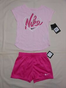 NWT Nike Little Girls 2pc pink shirt and fuchsia short outfit set; Size 6 & 6X